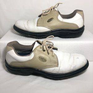 Footjoy Golf Shoes White Khaki Saddle Leather 8.5M